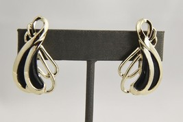 ANTIQUE Jewelry ART DECO BLACK ENAMEL & RHODIUM PLATE SCREW BACK EARRINGS - $20.00