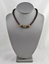 20's 30's DECO VINTAGE Jewelry TRIBAL Embossed Metal & GLASS Bead NECKLACE - $10.00