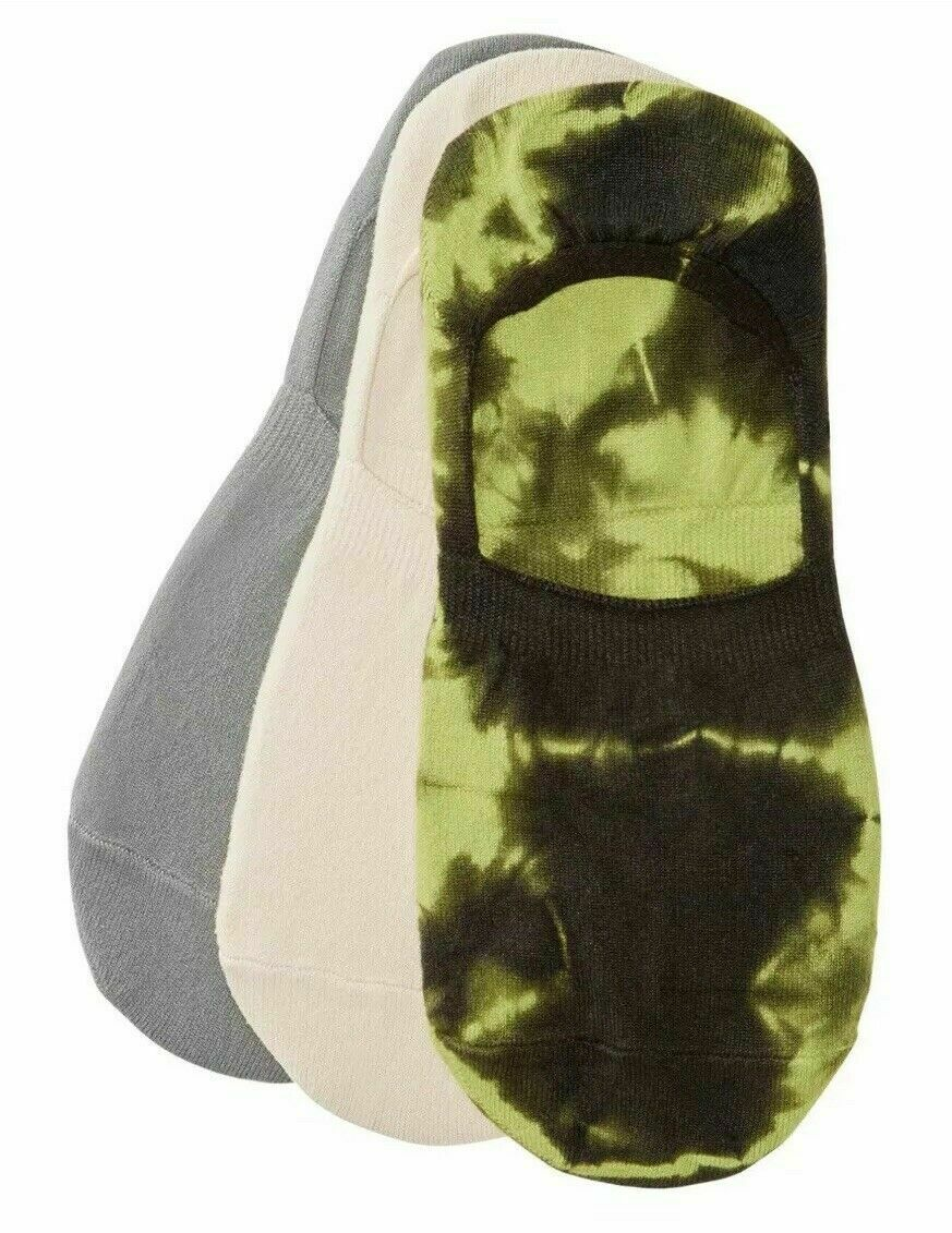 Hue Women's Hidden Liner Socks Assorted Tie Dyed Olive One Size 3 Pair Pack $16