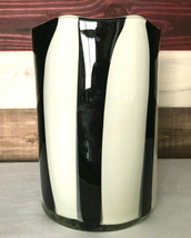 Art Glass Vase Hand Blown Glass Black and White Striped Murano  - $49.99