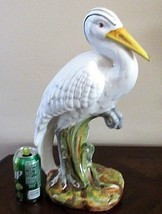 "Great White Heron Bird Figurine Italy Nautical Decor 18"" Large Ceramic - $69.29"