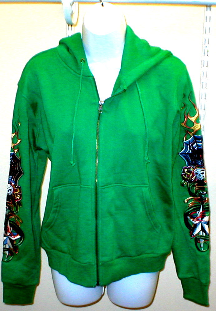 Primary image for New Womens Romeo & Juliet Couture Hoodie GREEN Tattoo S