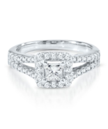 PRINCESSA COLLECTION 1 CT SIMULATED DIAMOND ENGAGEMENT RING IN 18K GOLD ... - $199.99