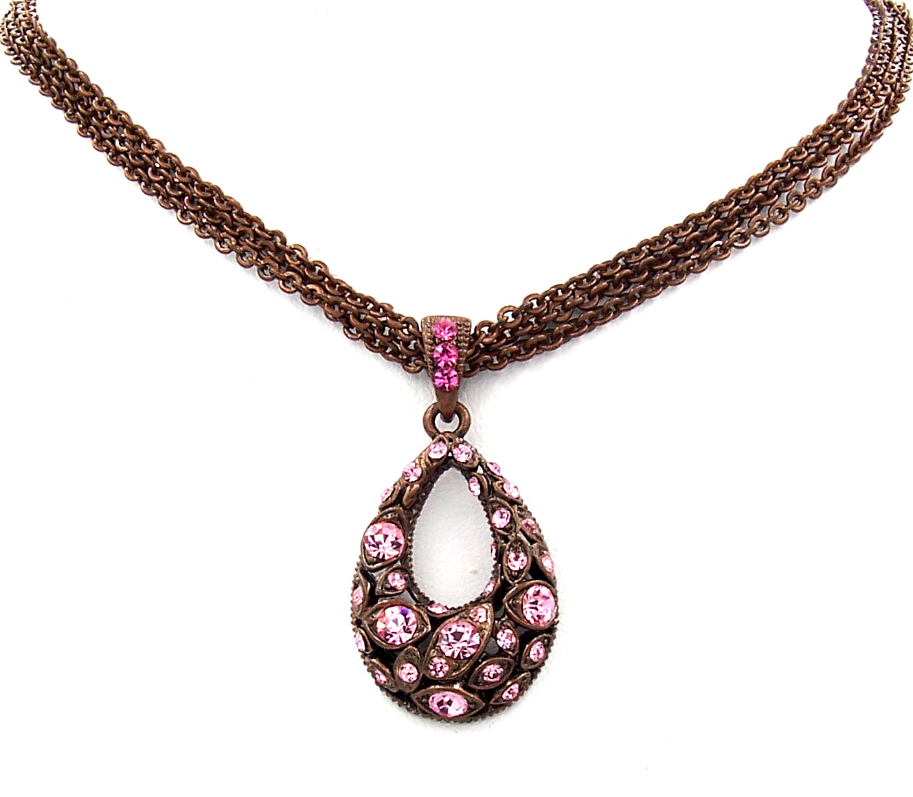 Swarovski Element Crystal New Copper Rose Oval Pendant Necklace Earrings Gift