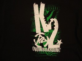 K2 Snowboarding Brand Athletic Snow Sports Grungy Logo Design Black T Shirt L - $17.46