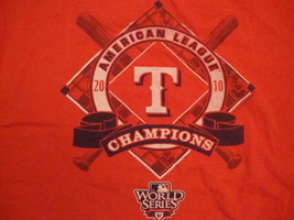 MLB Texas Rangers Major League Baseball Fan 2010 Champions Red T Shirt M - $17.86