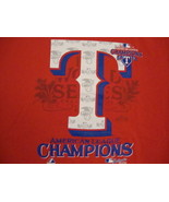MLB Texas Rangers Major League Baseball Fan 2011 Champions Red T Shirt L - $17.71