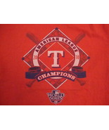 MLB Texas Rangers Major League Baseball Fan 2010 Champions Red T Shirt L - $17.46
