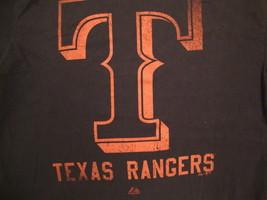 MLB Texas Rangers Major League Baseball Fan Majestic Apparel Black T Shirt XL - $17.66