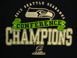 NFL Seattle Seahawks National Football 2013 Conference Champions Blue T Shirt L - $17.66