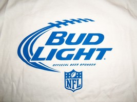 NFL Bud Light Official Beer Sponsor NFL Football White Graphic Print T S... - $17.46