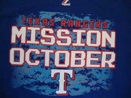 MLB Texas Rangers Major League Baseball Fan Mission October Blue T Shirt M - $17.46