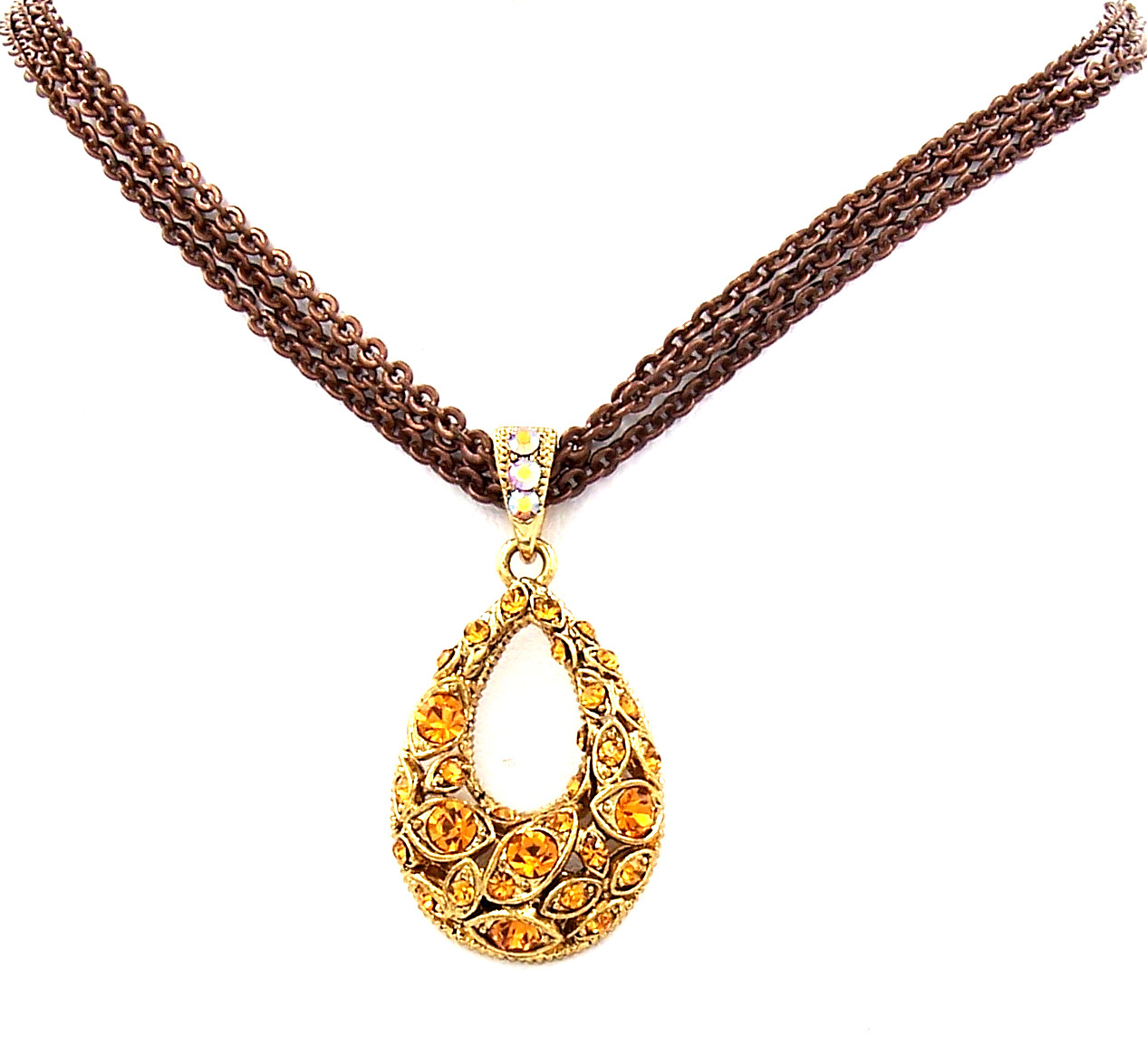 Swarovski Element Crystal New Gold Topaz Oval Pendant Necklace Earrings Gift Set