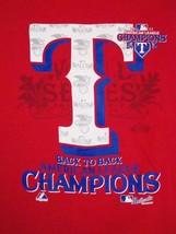 MLB Texas Rangers Back To Back Champs American League Baseball Team T Shirt L - $17.46