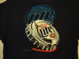 Miller Lite Beer Drink Bottle Cap Artwork Navy T Shirt L - $17.86