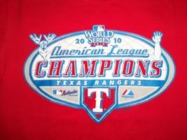 MLB 2010 Texas Rangers Baseball Team AL Champs Red Graphic Print T Shirt S - $17.56