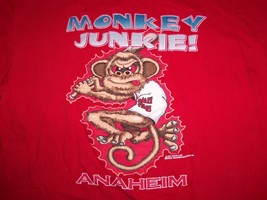 "MLB Anaheim Angels Baseball Rally Monkey ""Monkey Junkie"" Red Graphic T S... - $17.71"