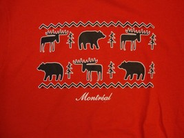 Montreal Montréal Canada Moose Bear Tree Pattern Outdoors Red T Shirt M - $17.56