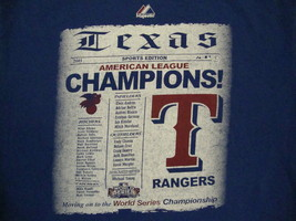 MLB Texas Rangers Major League Baseball 2011 World Series Champions T Shirt Y XL - $17.76