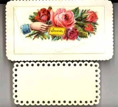 Victorian sample calling card Kelsey Press Meriden CT lacy roses hand - $8.00