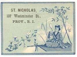 St Nicholas Providence Rhode Island Victorian trade card oriental blue e... - $6.50