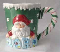 WCL Santa Claus Christmas Mug w Candy Cane Handle Ho Ho Ho - $12.95