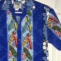 Vtg Hawaiian Shirt sz S Ho Aloha Surfboards Hibiscus Made in Hawaii Blue... - $32.00