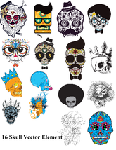 16 Skull Vector Element-Digital Clipart  - $5.00