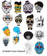 16 Skull Vector Element-Digital Clipart  - $6.00