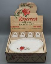 Rosecrest Federal Glass 8 Piece Snack Plate Set NIB NOS Vtg - $44.54