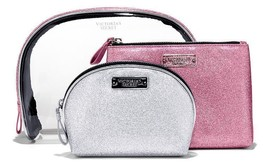 NWT Victoria's Secret Cosmetic Bag Trio in Pink/Silver.Great Holiday Gift Set! - $30.00