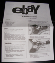 2001 Ebay Auction Game Instructions - $8.00