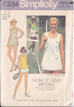 SIMPLICITY 7334 MISS SIZE 14 - TENNIS DRESS OR TOP AND SHORTS - $7.00