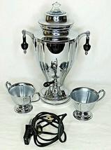 Coffee Percolator Urn Electric Sugar Creamer Chrome Plated Cord Vintage ... - $98.99