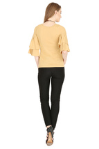Tops for Women Beige Cotton Ruffle Bell Sleeves tops Chistmas gifts for her image 5
