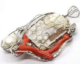 Silver Pendant 925 Cameo Cameo, Women's, Branch Red Coral, Flowers, Butterfly image 3