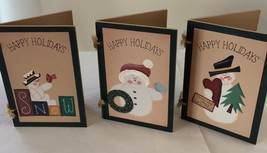 "3 HAPPY HOLIDAYS SNOWMAN WOODEN CHRISTMAS CARDS~5-3/4"" X 4""~NICE - $5.99"
