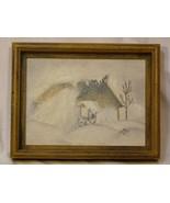 Original 1973 Framed 9x7 Oil On Canvas of House in Winter Scene Artist P... - $54.98