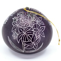 Handcrafted Carved Gourd Art Purple Hyacinth Floral Ornament Made in Peru image 2