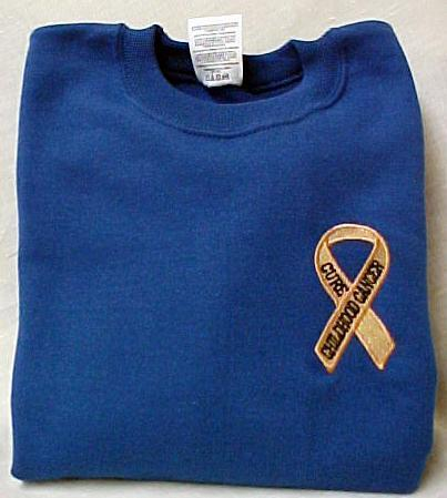 Childhood Cancer Awareness 2XL Ribbon Royal Crew Neck Sweatshirt Unisex New
