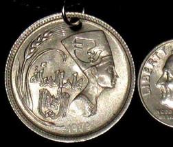 VINTAGE SILVER TONE EGYPT EGYPTIAN QUEEN NEFERTITI COIN PENDANT NECKLACE - $9.89