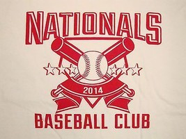 MLB Nationals Baseball Club 2014 Championships Souvenir White T Shirt L - $17.47