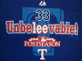 MLB Texas Rangers Major League Baseball Cliff Lee #33 Majestic Blue T Shirt M - $17.76