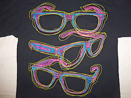Neon Summer Sunglasses Black Graphic Print T Shirt - XL - $17.66