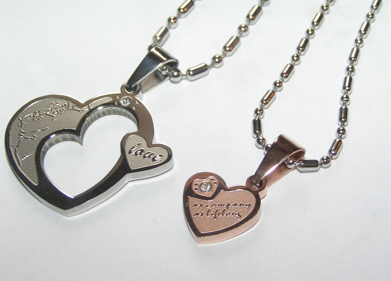 couples matching titanium steel necklace set free shipping
