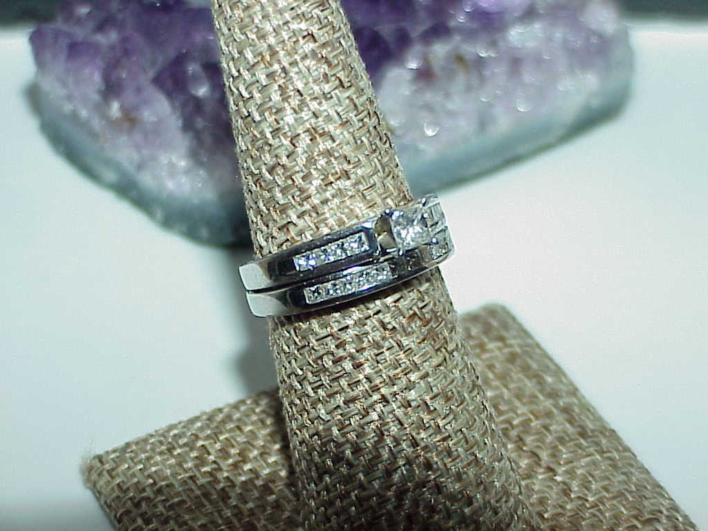 Platinun 1.00Ct Princess Diamond Band & Ring Set 2pc Sz 7 Engagement & Band Nice