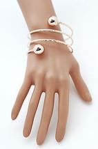 Women Bracelet Gold Metal Fashion Jewelry Bangle Balls String Spring Adjustable - $10.77
