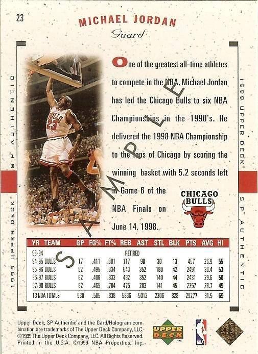 Primary image for 1999 ud sp authentic michael jordan promo sample card chicago bulls