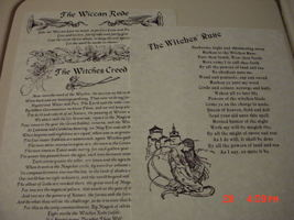 WITCHES' RUNE, WITCHES' CREED, & WICCAN REDE BOOK OF SHADOW PAGES - $5.00