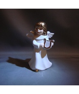 GOEBEL WEIHNACHT ANGEL 41004 PLAYING HARP W/ GOLD ACCENT CHRISTMAS FIGURINE - $24.99